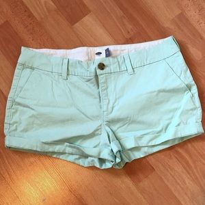 Mint Green Old Navy Shorts with Cuffed Hem
